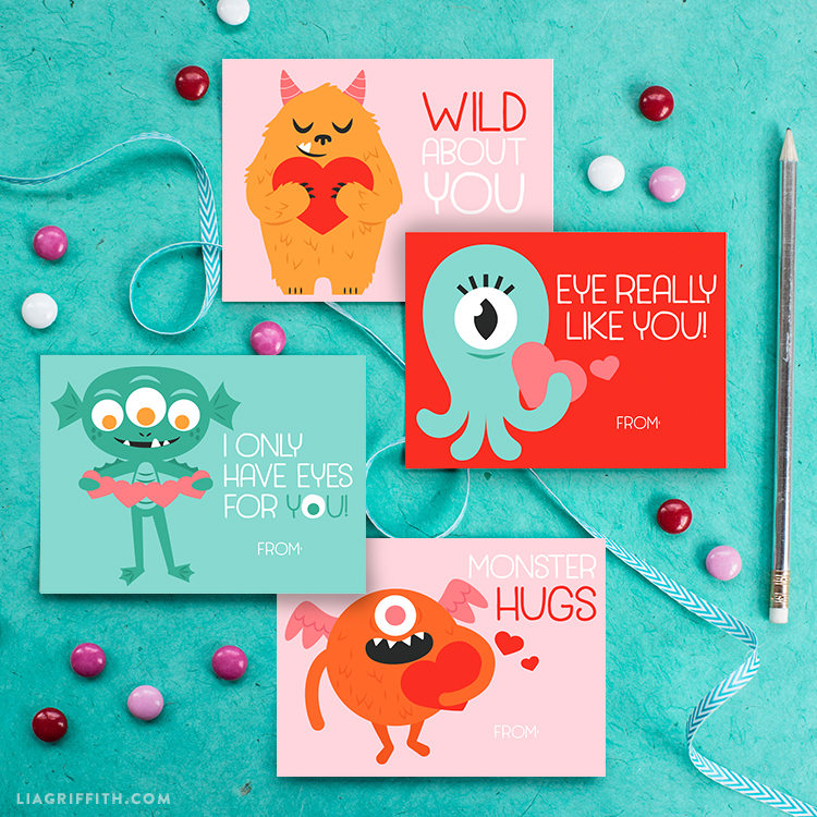 photo about Printable Monster named Down load a print a mounted of lovely monster Valentines Working day playing cards