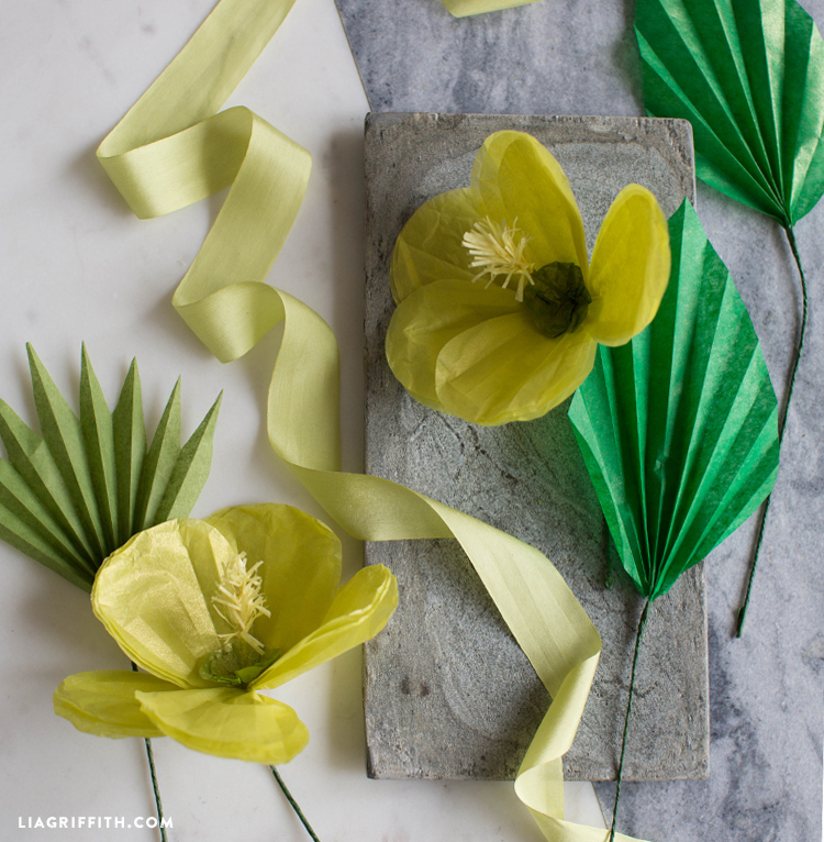 DIY tissue paper hibiscus and tropical leaves