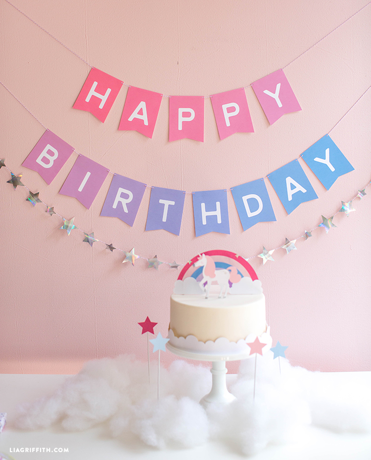 picture about Printable Happy Birthday Banner titled Obtain and Obtain an Ombre Printable Birthday Banner