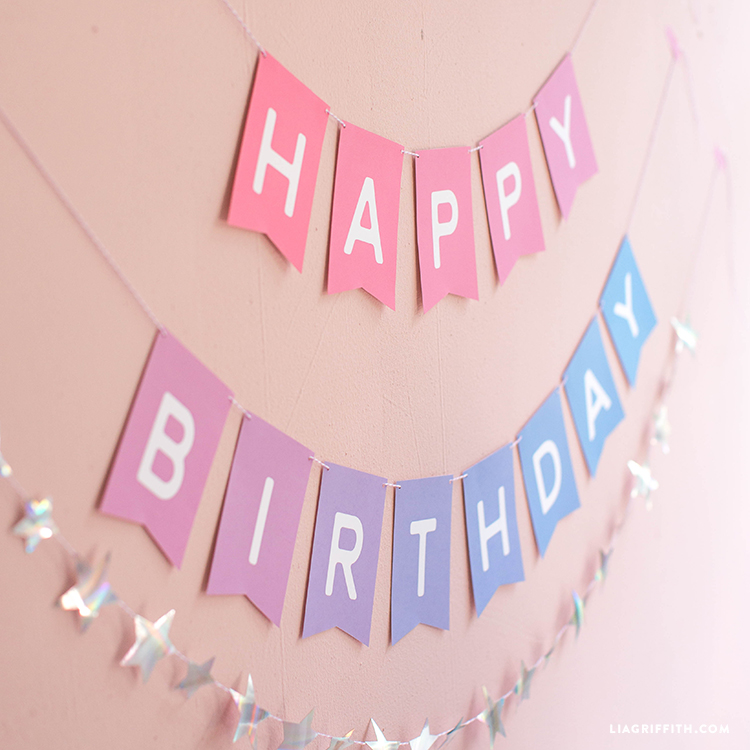 image relating to Printable Happy Birthday Banner called Obtain and Get an Ombre Printable Birthday Banner