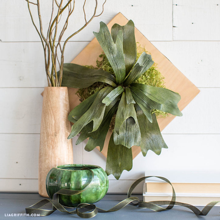 Mounted Crepe Paper Staghorn Fern