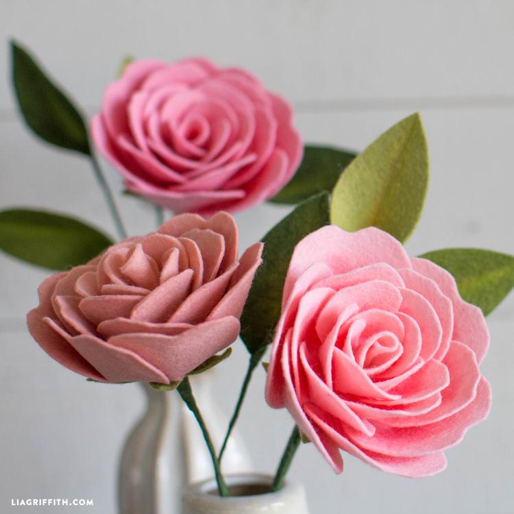 felt camellia flower