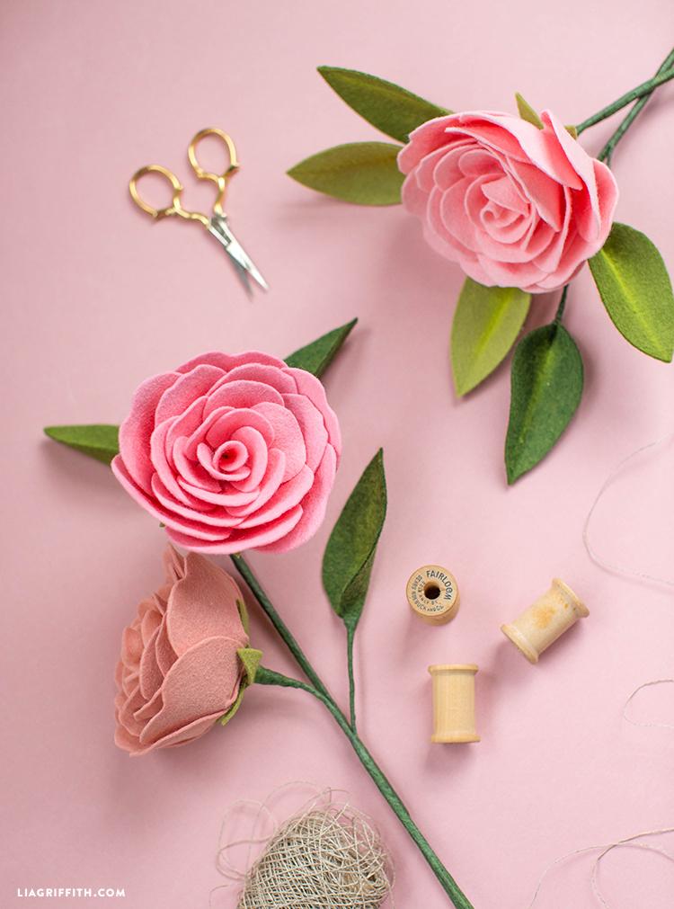 camellia diy felt flower
