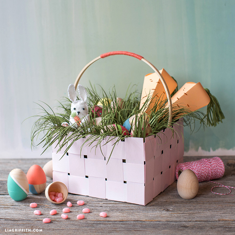 woven basket with easter grass