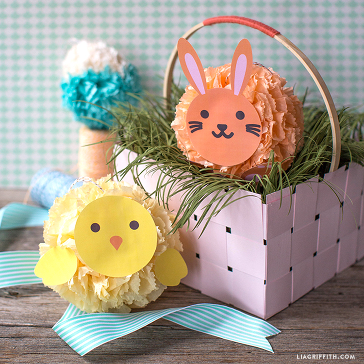 easter tissue poms