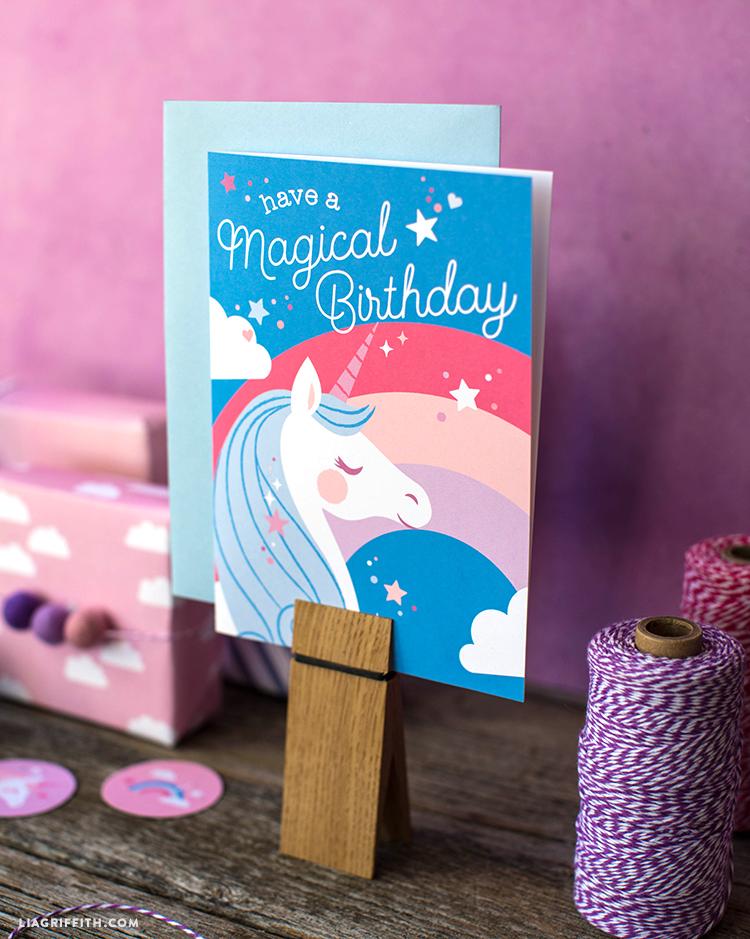 photo regarding Unicorn Birthday Card Printable called Obtain and Print a Magical Unicorn Birthday Card