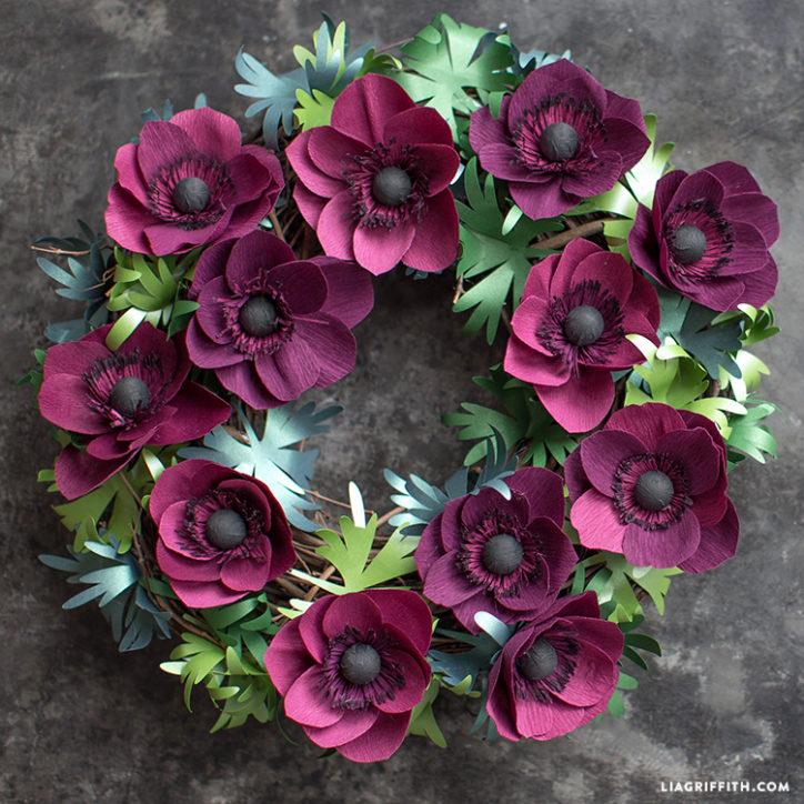 paper anemone wreath