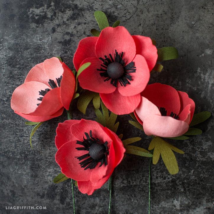 crepe paper anemone