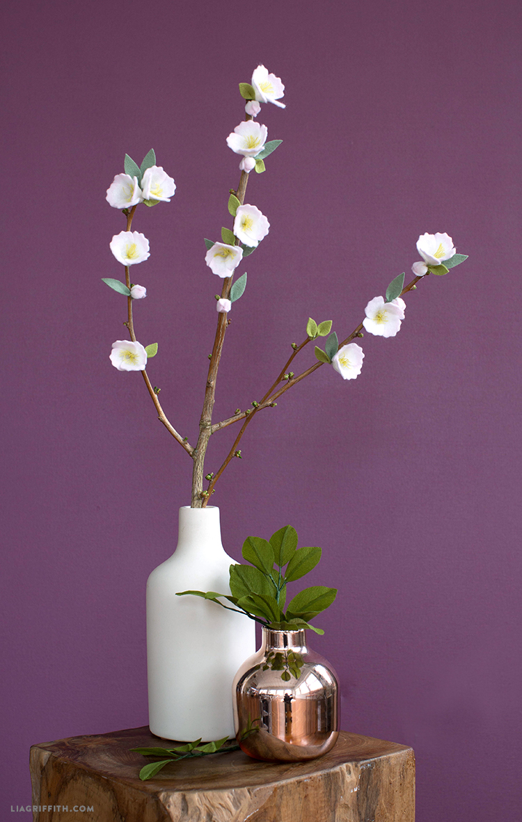 felt cherry blossom branch