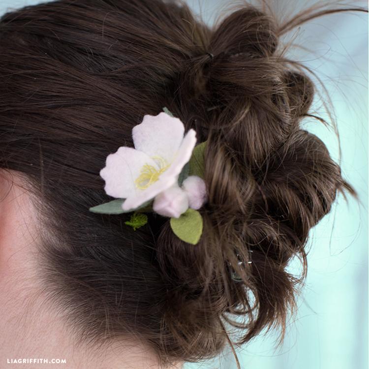 felt cherry blossom barrette