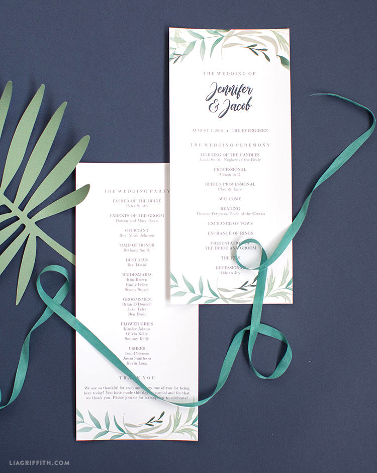 greenery wedding program template