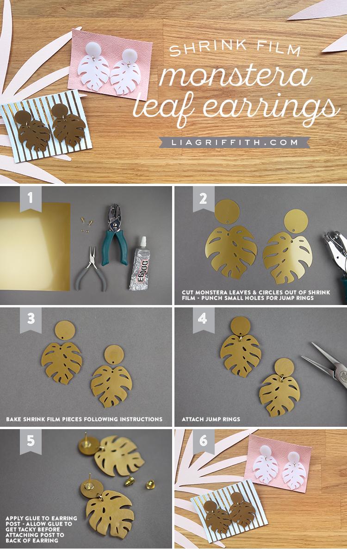 monstera leaf earrings tutorial
