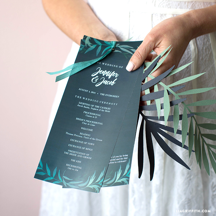 download and print your greenery wedding program template