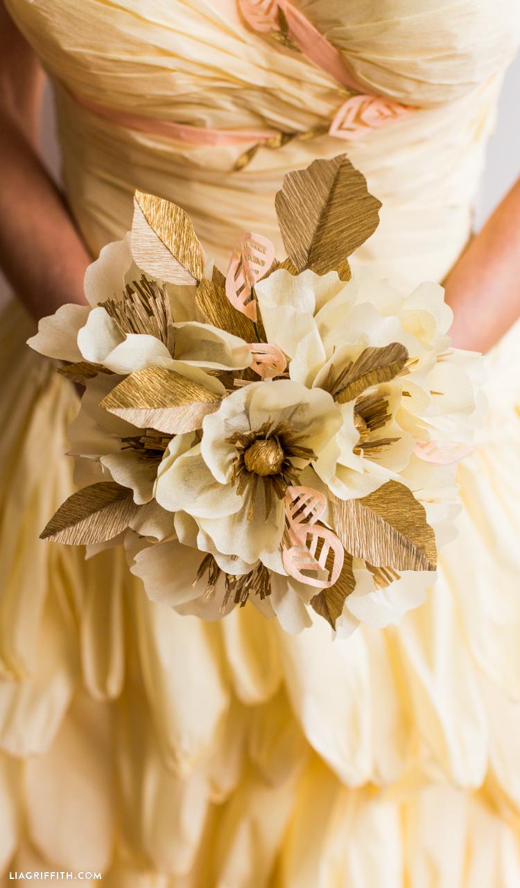 gold crepe paper wedding bouquet