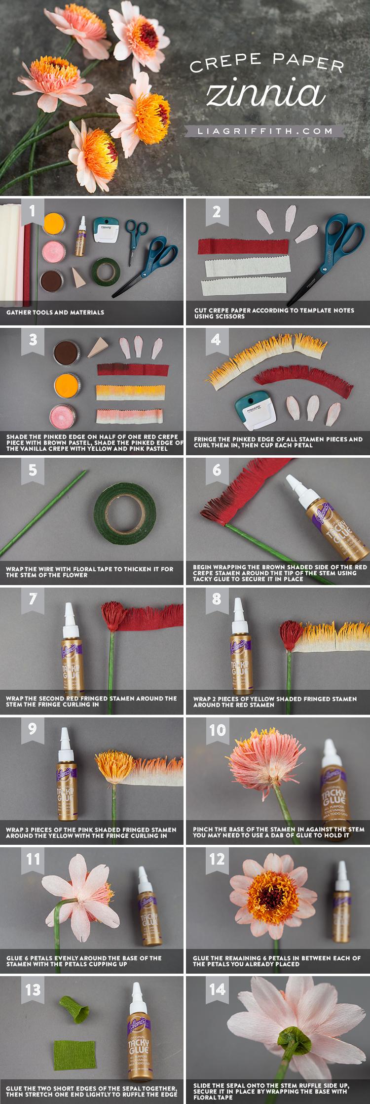 crepe paper zinnia tutorial