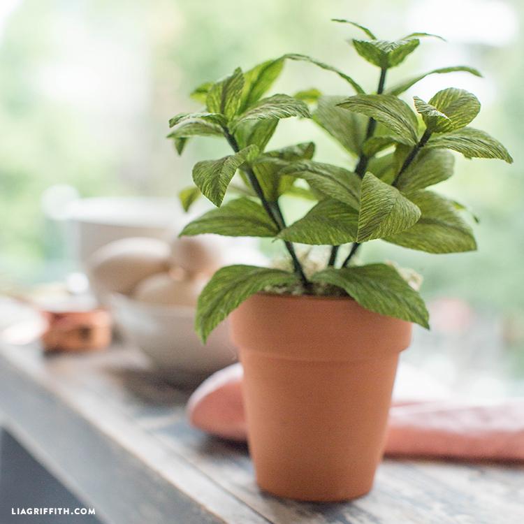 crepe paper basil plant