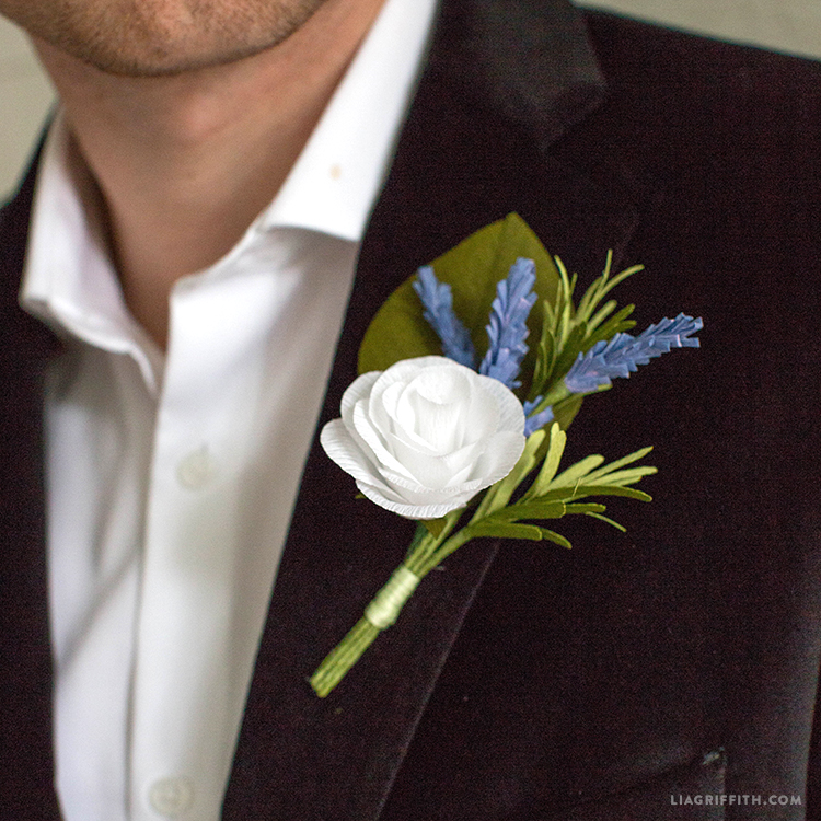 Craft your own crepe paper and rosemary diy boutonniere diy boutonniere rosemarry me freerunsca Image collections