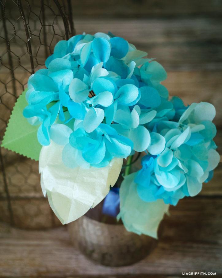 tissue paper hydrangeas