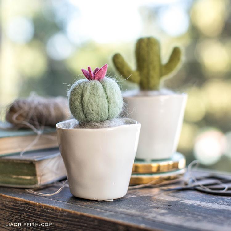 Needle-felted mini cactus plants in pots