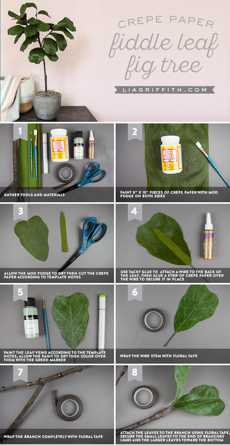crepe paper fiddle leaf fig tree tutorial