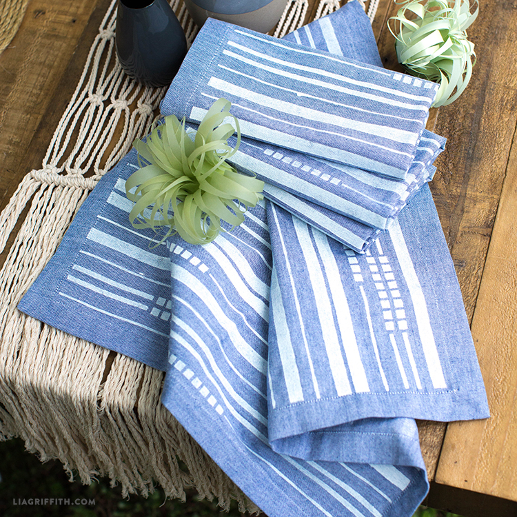 Painted Chambray Dinner Napkins