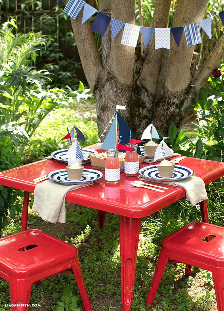 Nautical Kids Table 4th of July Crafts
