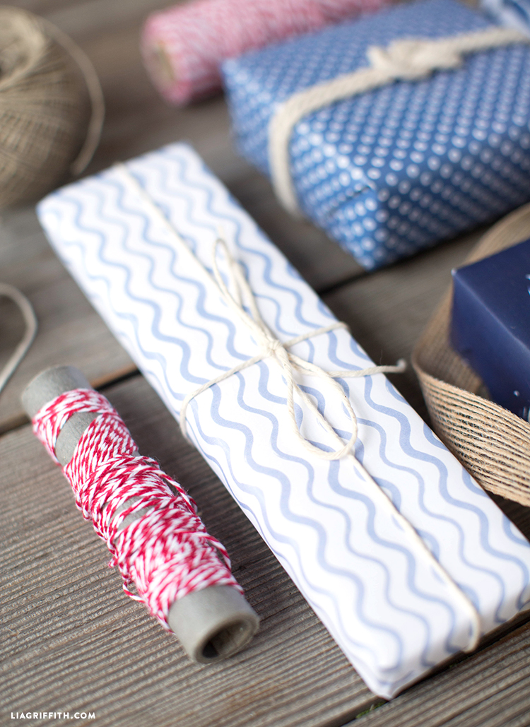 Chambray Gift Wrap - Wavy Lines