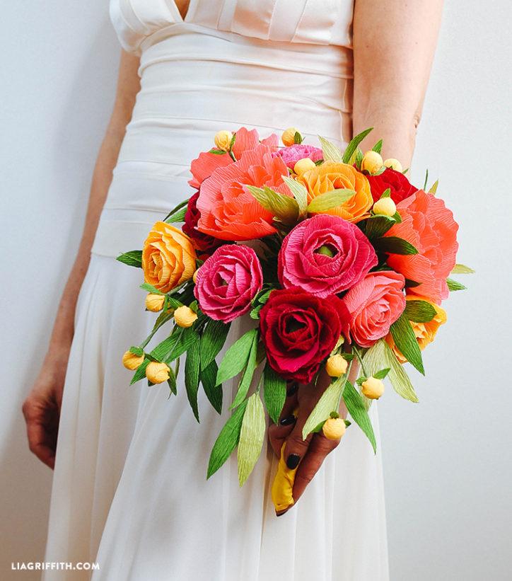crepe paper neon wedding bouquet
