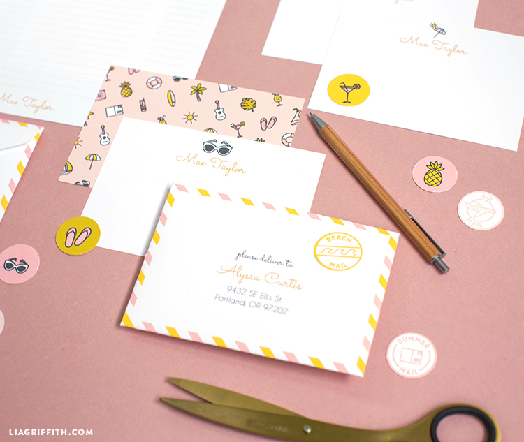 personalized stationery and stickers for summertime