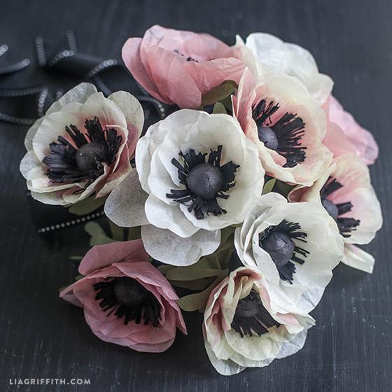 tissue paper anemone bouquet