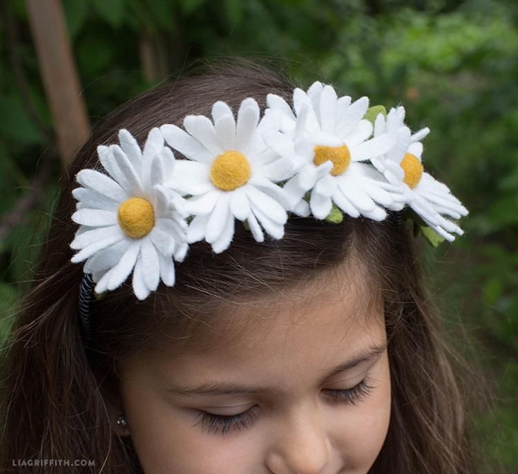 felt daisies headband