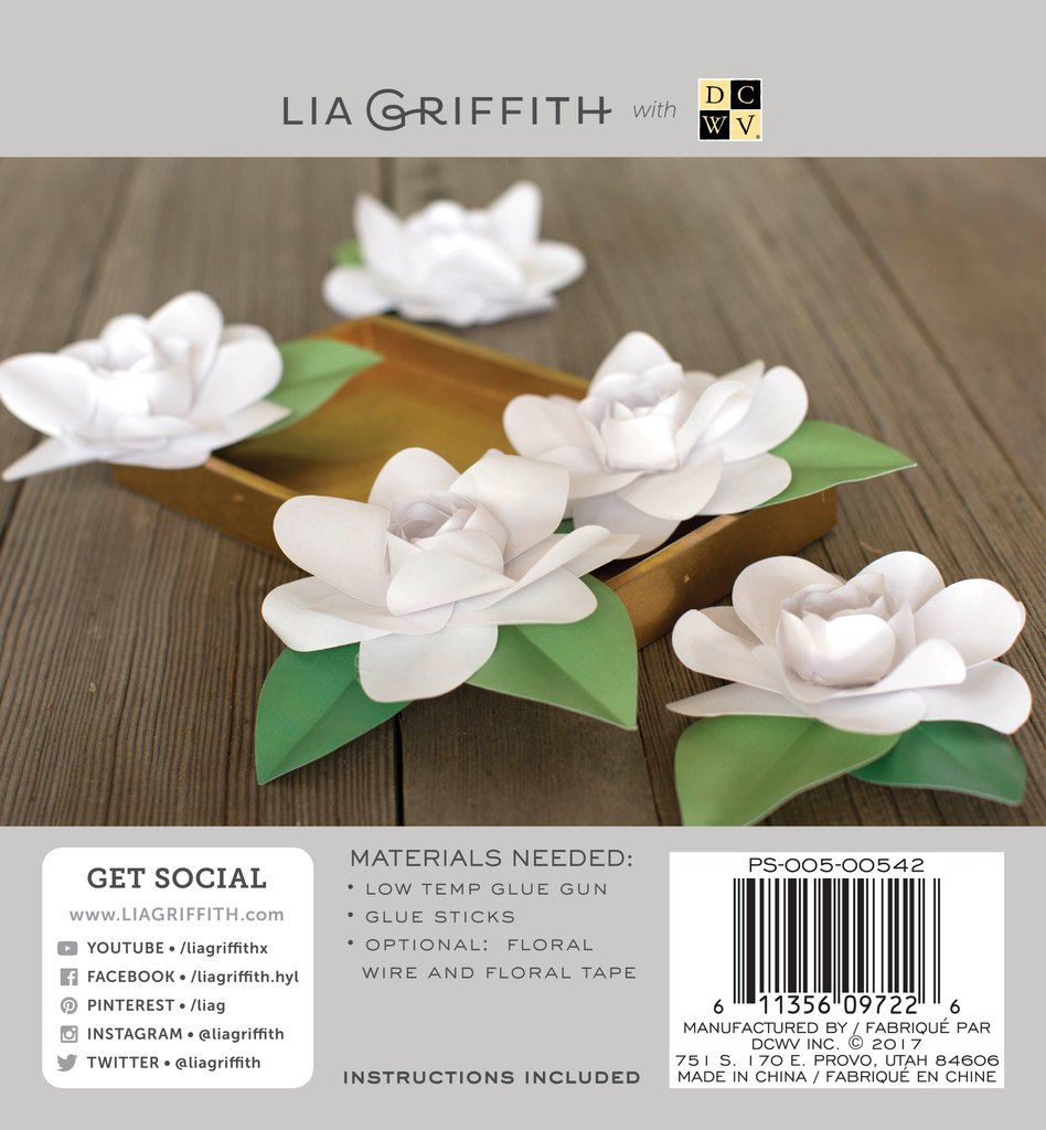 Gardenia Frosted Paper Flower Kit Lia Griffith