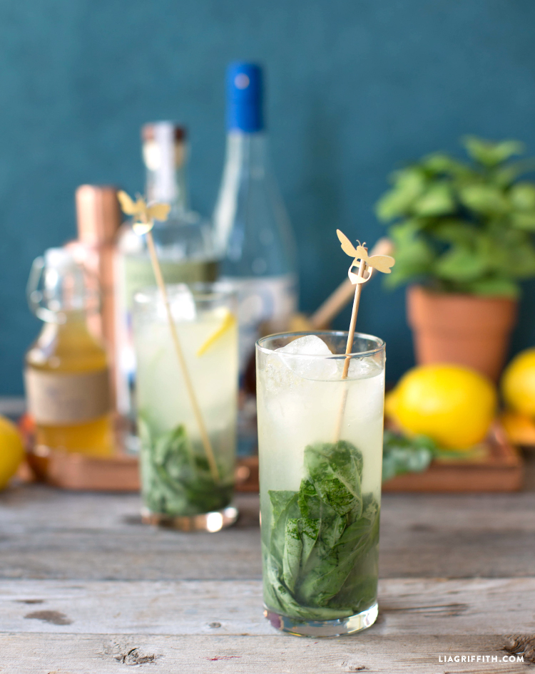 Honey Basil Collins Cocktail