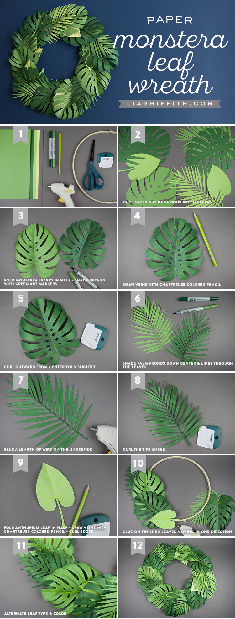 Paper Monstera Leaf Wreath Infographic
