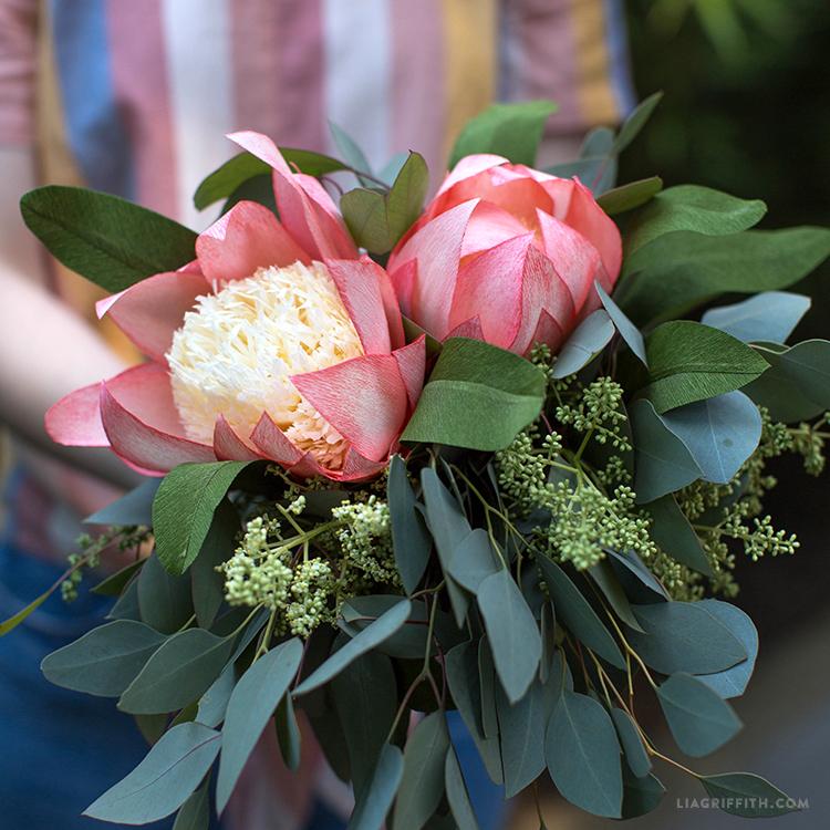 crepe paper protea flower bouquet