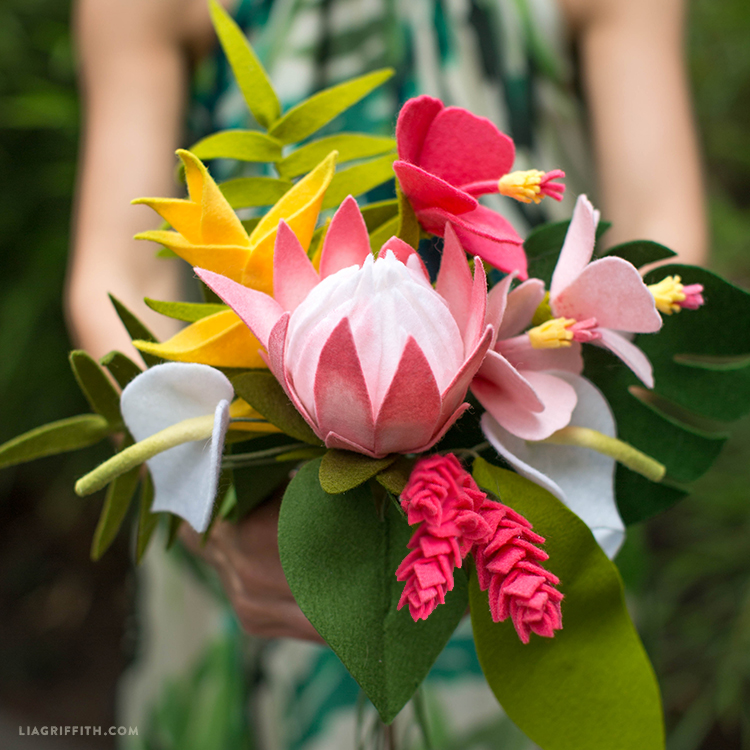 Lets Get Tropical With Felt Tropical Flowers In A Bouquet