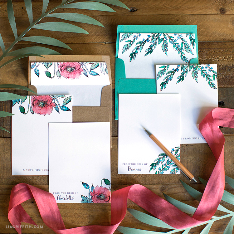 poppy and greens stationery