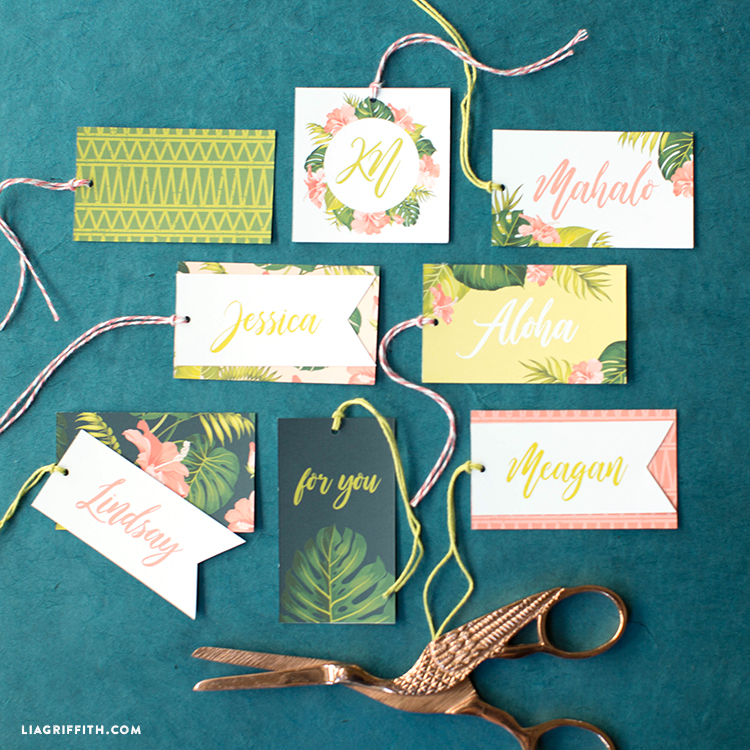 diy tropical gift tag template