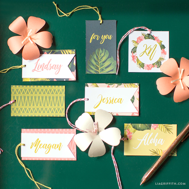 tropical gift tag template