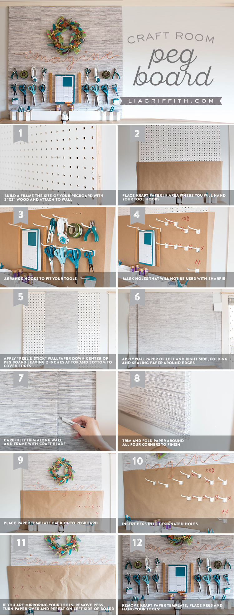 Tutorial for making a DIY pegboard for your craft room