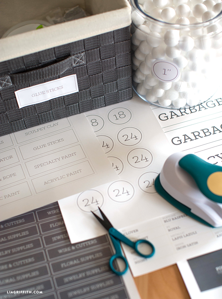 Printable storage labels for Fiskars tools, foam balls, and other craft supplies