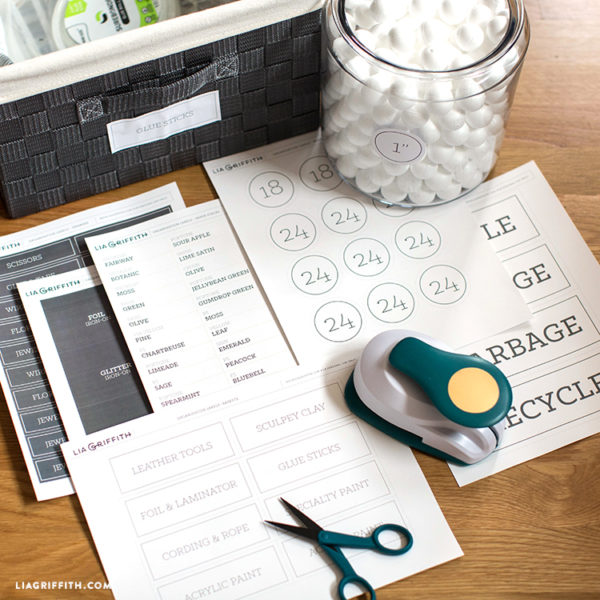Storage labels on desk with Fiskars craft tools and foam balls