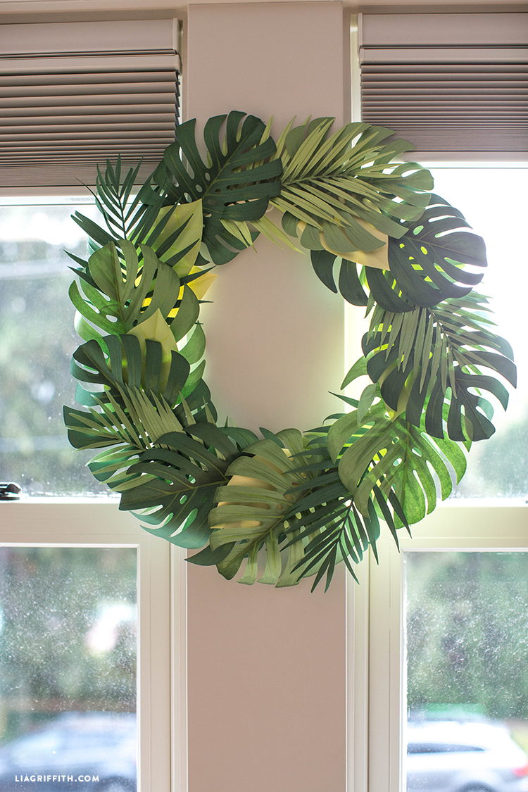 DIY paper wreath near windows