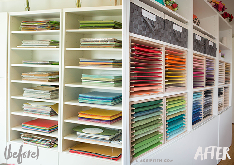 Before and after photo of organized paper holders in new craft room