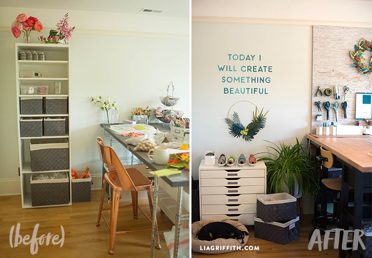 Before and after photo of shelving unit and craft table in new craft room