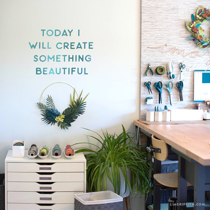 """Today I will create something beautiful"" vinyl wall decal in craft room"