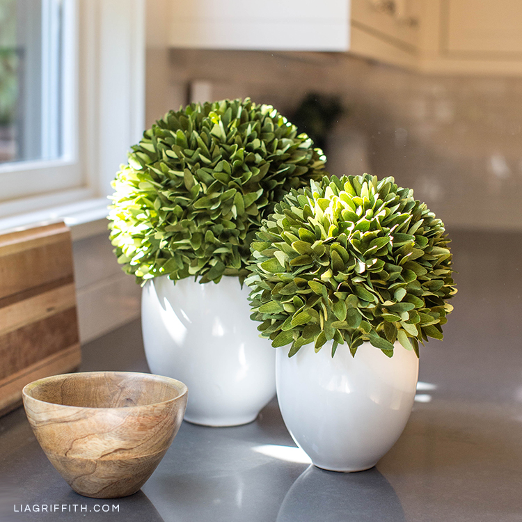 Lia Griffith double-sided crepe paper boxwood topiary plants on kitchen counter next to wood bowl