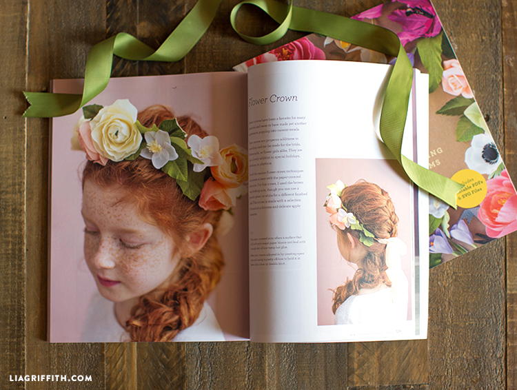 A page in the book showing how to make a paper flower crown