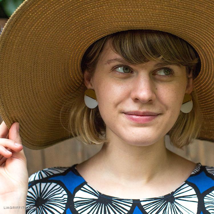 Designer Krista wearing circle-shaped DIY earrings