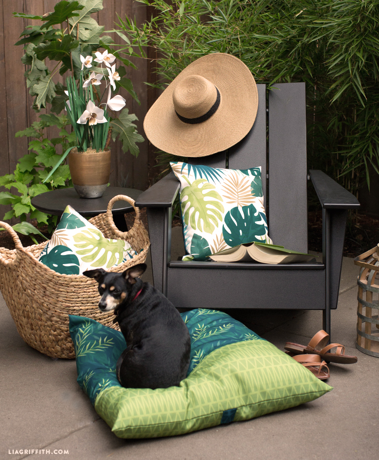 Patio furniture with tropical outdoor pillows and dog on tropical outdoor cushion